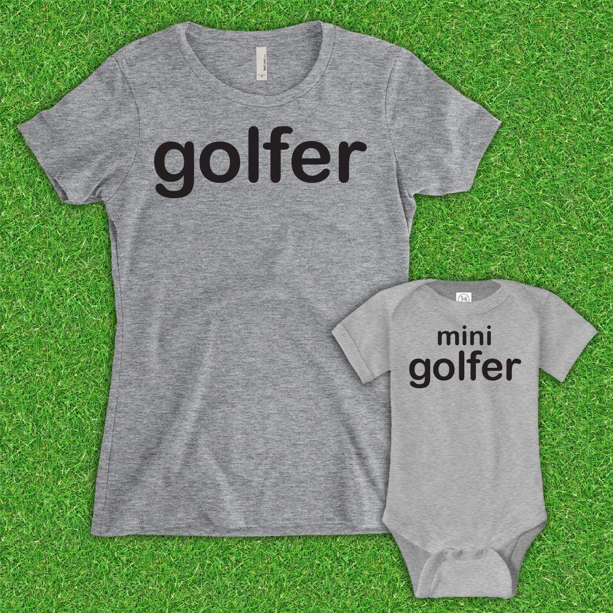 Mom Golfer, Mini Golfer (Matching Set) - Gray
