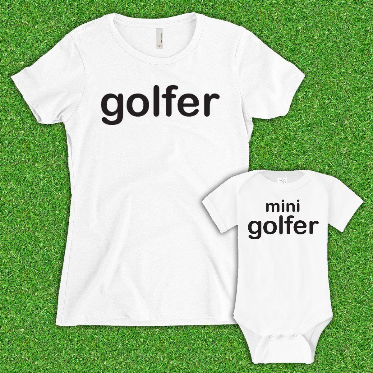 Mom Golfer, Mini Golfer (Matching Set) - White