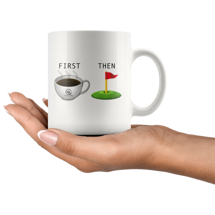First Coffee Then Golf Emoji Mug