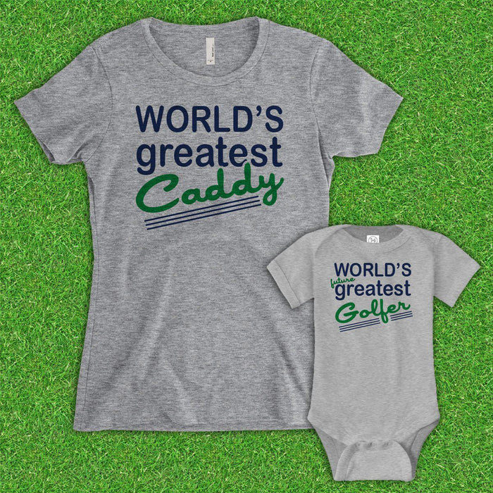 Mom World's Greatest Caddy/Future Golfer (Matching Set) - Gray
