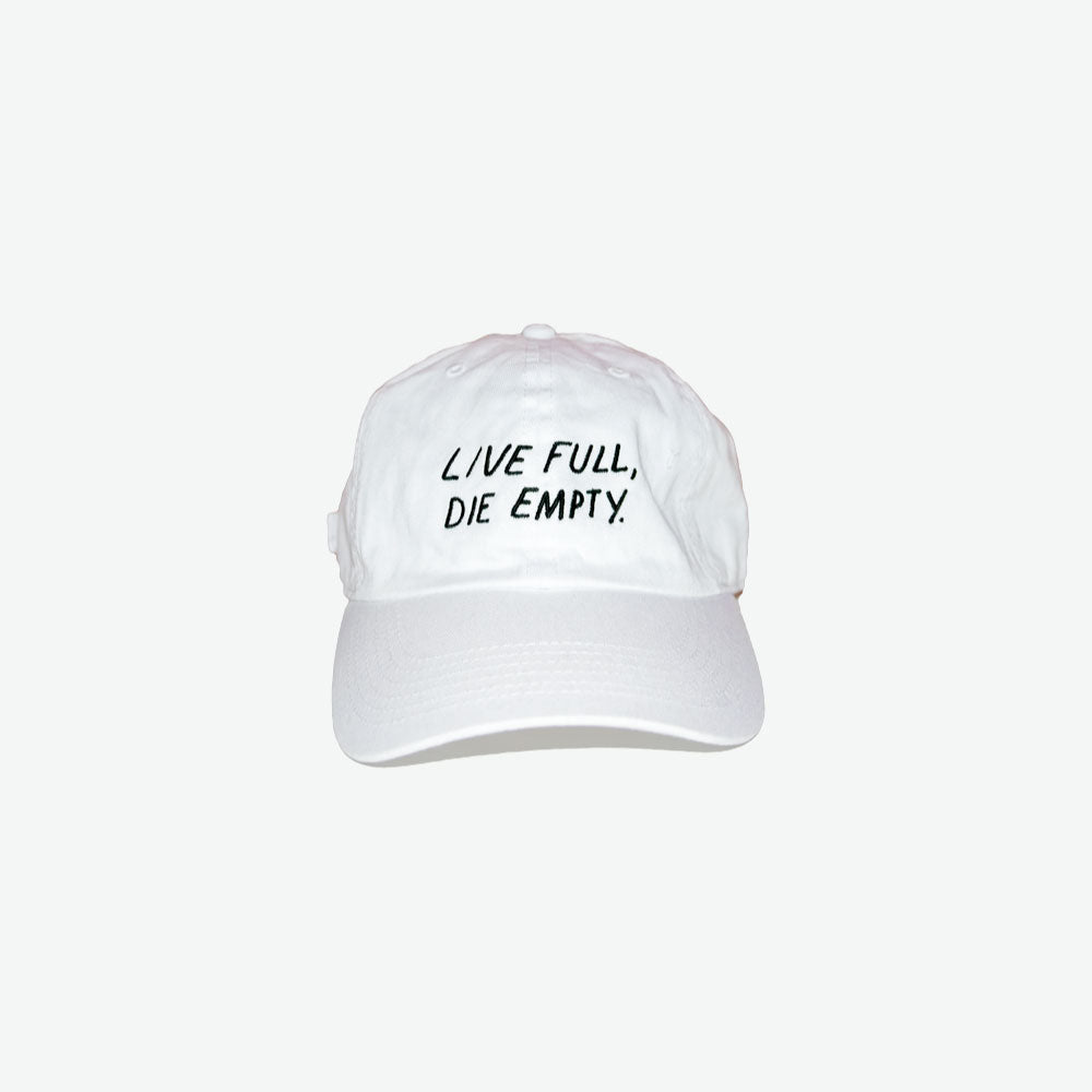 EGO Live Full, Die Empty Dad Hat - White - EveryBodyGotOne