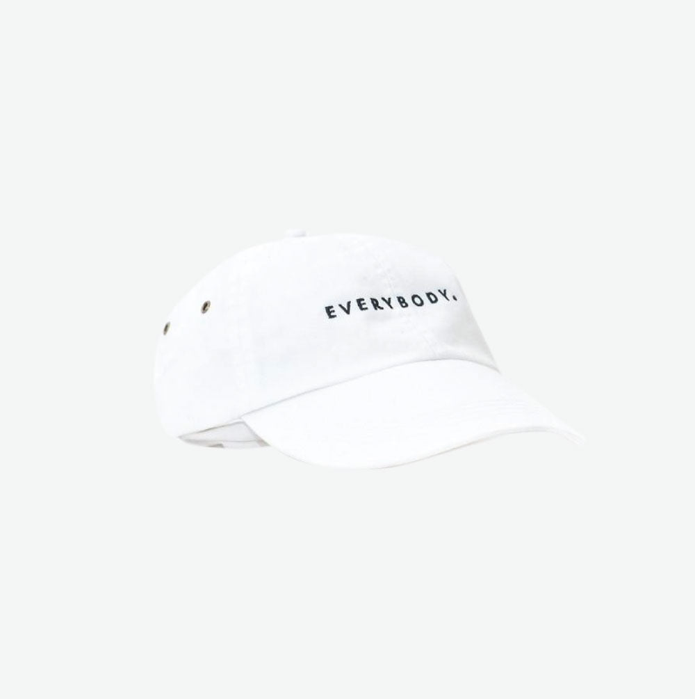 "EGO ""Everybody."" Cotton Twill Cap - White - EveryBodyGotOne"