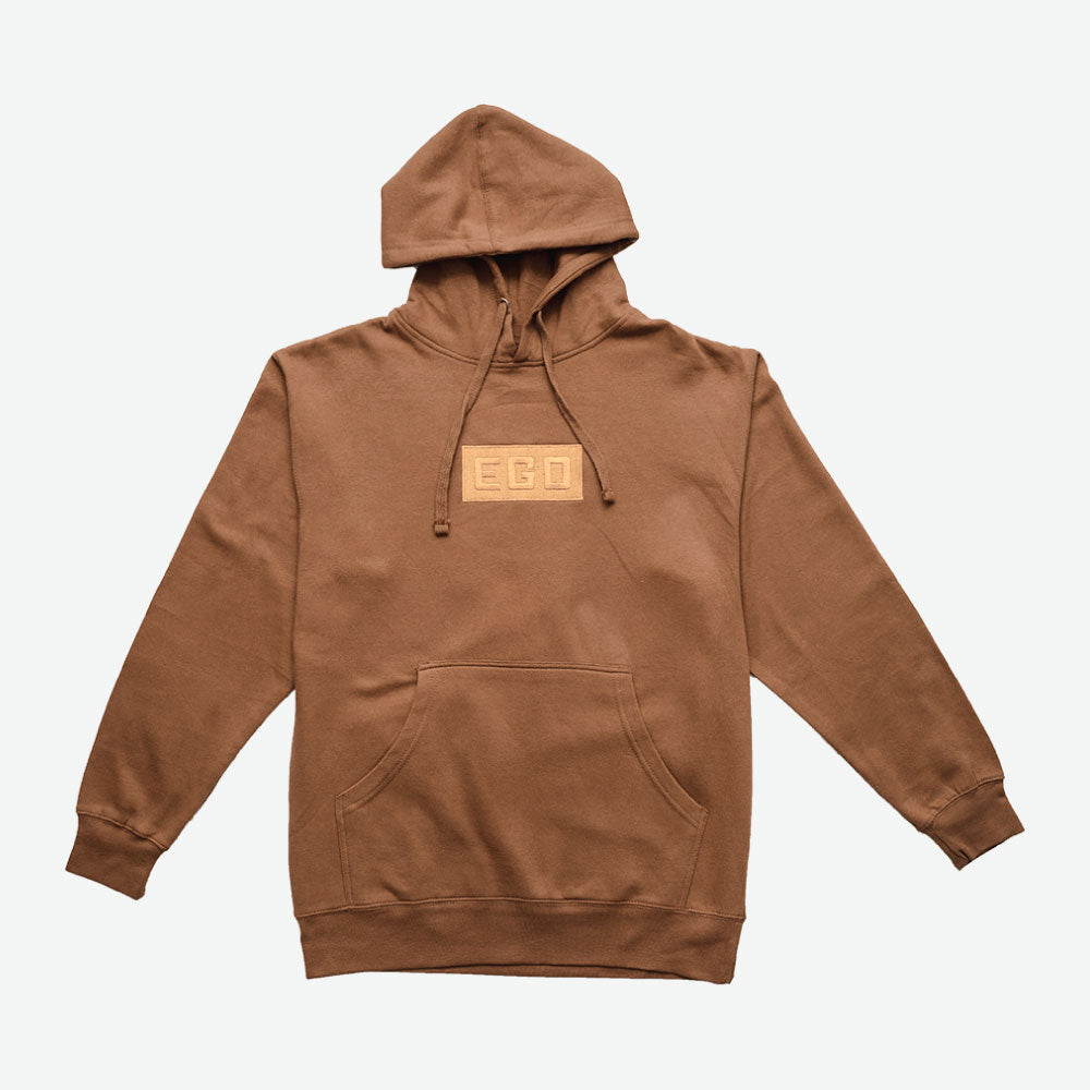 EGO CLASSIC Simple Logo HOODIE PS18 - SADDLE BROWN - EveryBodyGotOne