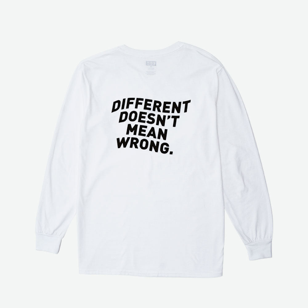 "EGO ""DIFFERENT"" L/S TEE PS18 - WHITE - EveryBodyGotOne"
