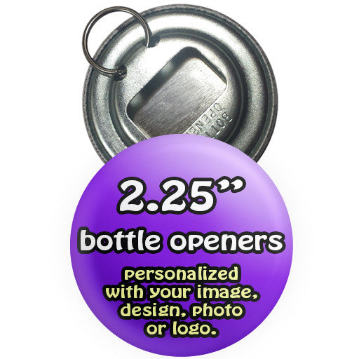 Custom promotional bottle openers. Bottle opener buttons at The Button Store Montreal. 2.25 ""