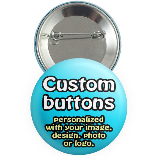 Custom promotional buttons, badges, pins. Personalized pin-back buttons at The Button Store