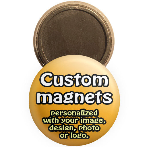 Custom promotional magnets. Personalized magnet buttons at The Button Store