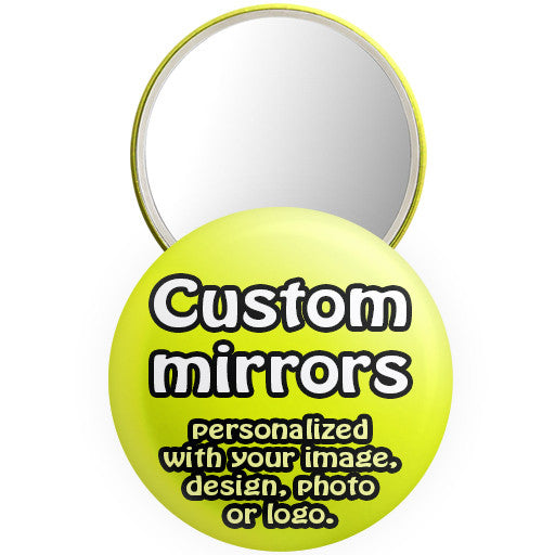 Custom promotional mirrors. Personalized mirror buttons at The Button Store