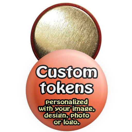 Custom promotional tokens. Personalized token buttons at The Button Store