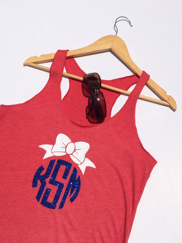 4th of July, Monogram, Memorial Day, Monogrammed Tank, Glitter Monogram, Monogram Bow,