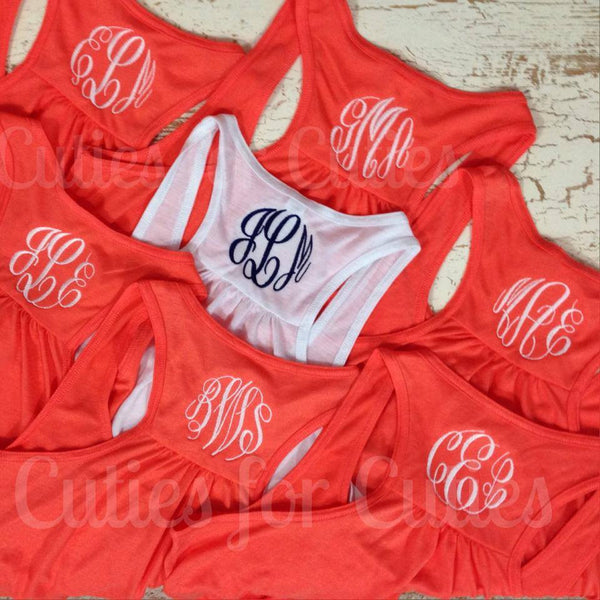 Monogram Tank, bridal party tank set of 7