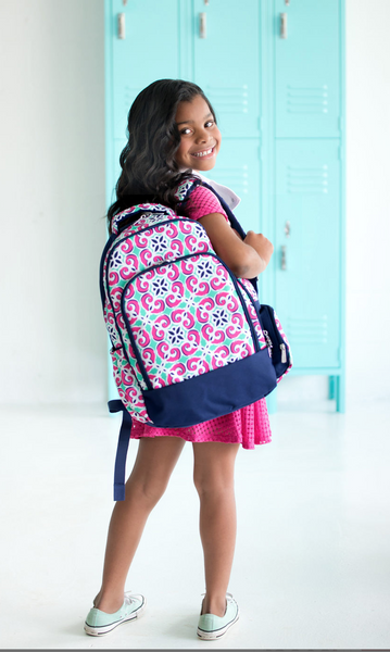 Mia Tile Elementary/Middle School Backpack, Fold Over Lunchbox & Cosmetic Case--Save $10 W/Set