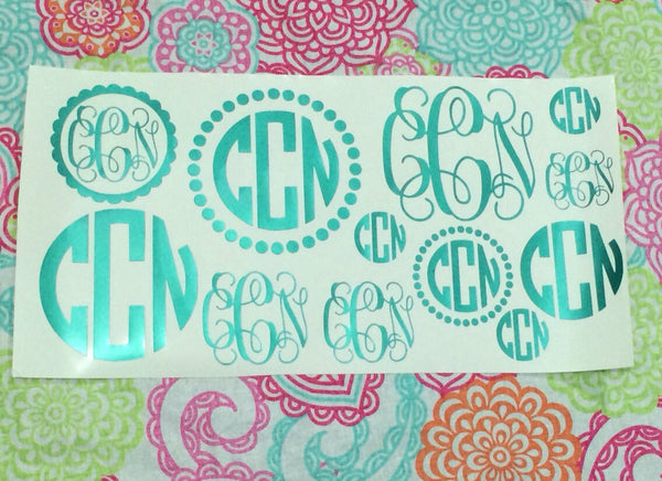Monogram Decal Sheet Back to School Sample Sheet
