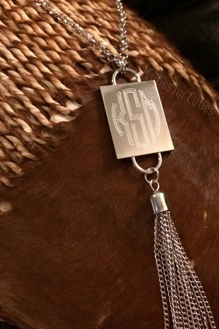 Monogram Engraved Necklace, Tassle, Rectangle Necklace