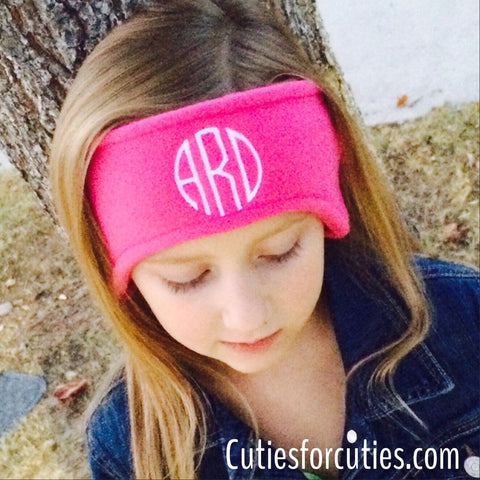 Monogrammed Fleece Headband. Fleece ear warmer.