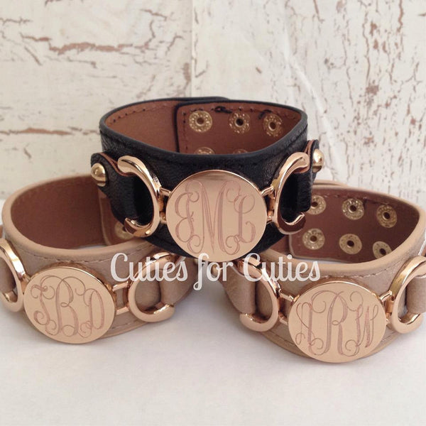 Monogram Cuff Bracelet, Leather Cuff Bracelet, Monogrammed Bracelet, Cuff Bracelet, Engraved Monogram, Leather Cuff