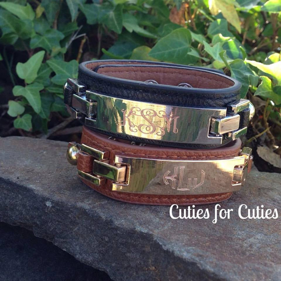 Monogram Leather Cuff Bracelet Thin Rectangle-ENGRAVED