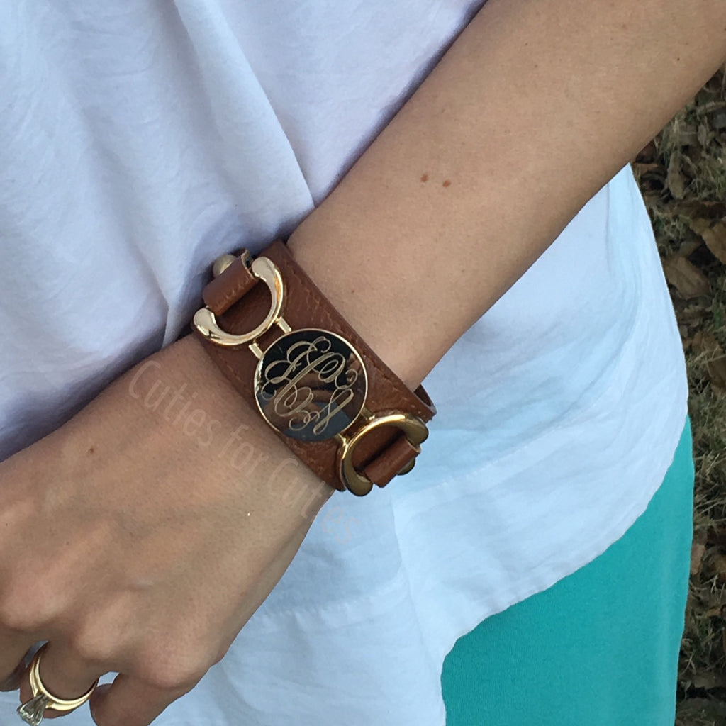 Monogram Bracelet Leather Cuff Engraved