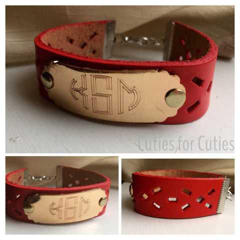 Leather Cutout Monogram Bracelet