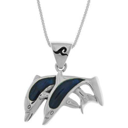 Twin Dolphins Sterling Silver Paua Shell Accent Jewelries