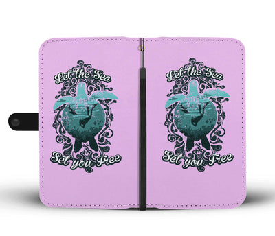 Let The Sea Set You Free Pastel Pink Phone Wallet Case