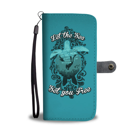 Let The Sea Set You Free Teal Phone Wallet Case