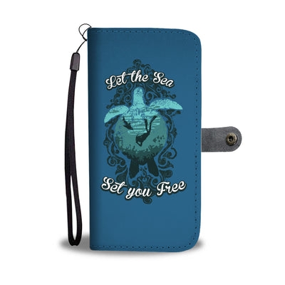 Let The Sea Set You Free Dark Blue Phone Wallet Case