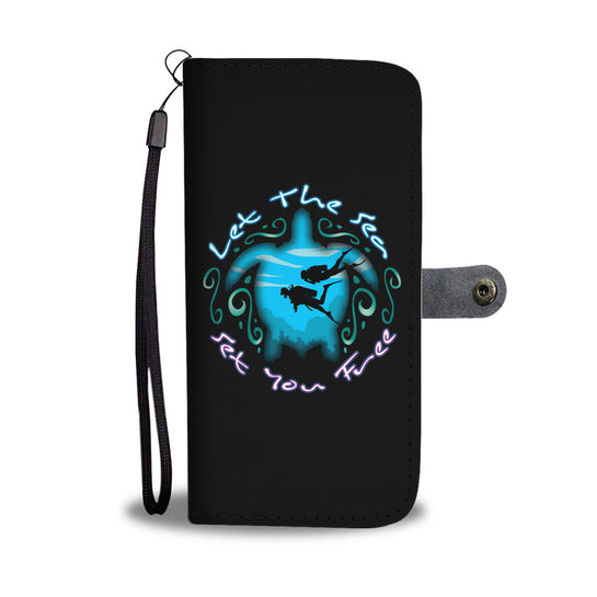 Let The Sea Set You Free V2 Black Phone Wallet Case