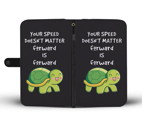 Image of Your Speed Doesn't Matter Forward Is Forward Navy Wallet Case