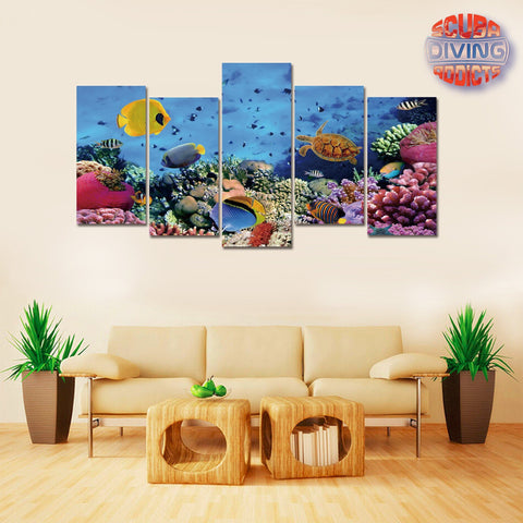 Corals in the Red Sea 5 Piece Canvas - scubadivingaddicts