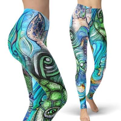 Turtle Collage Leggings (Warehouse)