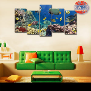 Coral & Fish in the Red Sea Egypt 5 Piece Wall Canvas - scubadivingaddicts
