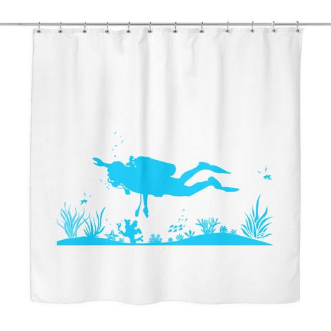 Image of Bottom Of The Ocean Shower Curtain - scubadivingaddicts
