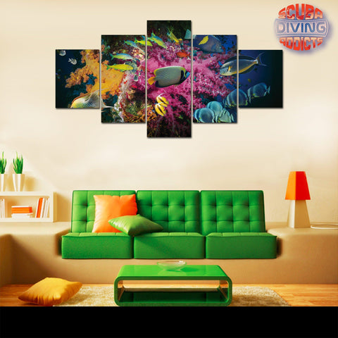 Image of Marine Fish Shoaling 5 Piece Canvas