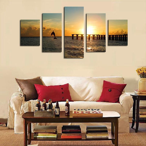 Image of Dolphin Sunset 5 Piece Canvas