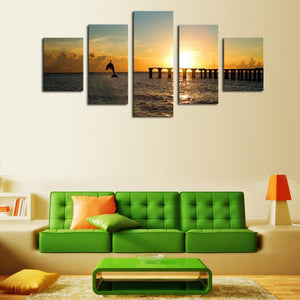 Dolphin Sunset 5 Piece Canvas