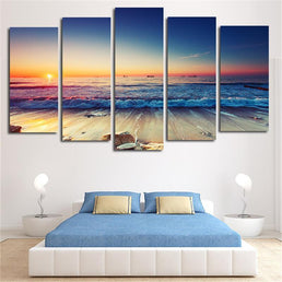 Sunset Seascape 5 Piece Canvas