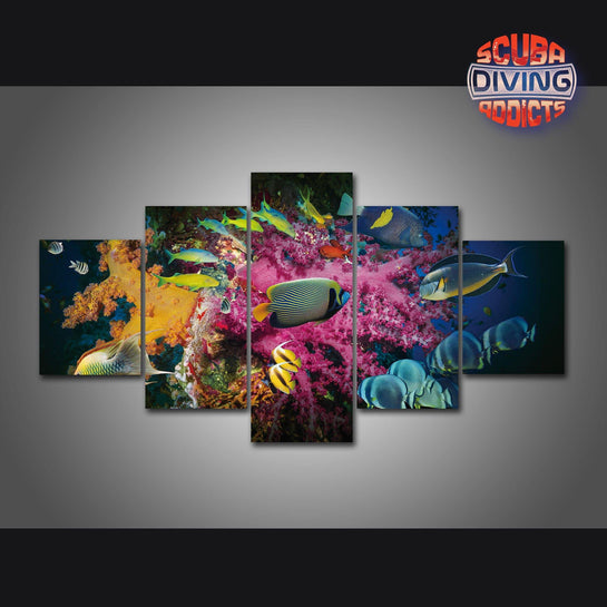 Marine Fish Shoaling 5 Piece Canvas