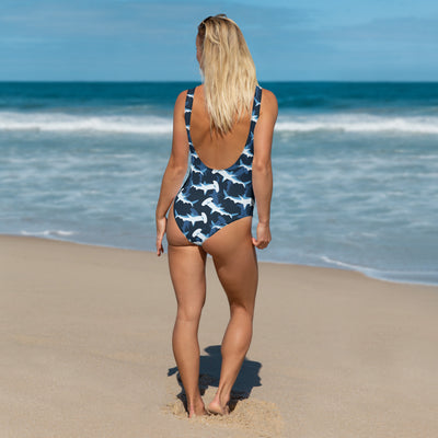 Blue Hammerhead Shark One-Piece Swimsuit (Warehouse)