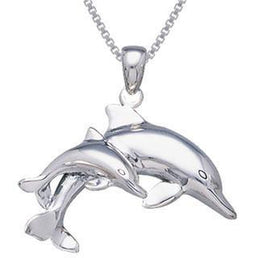 Mother And Baby Dolphin Sterling Silver Necklace and Earrings
