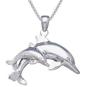Mother And Baby Dolphin Sterling Silver Necklace
