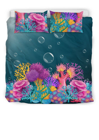 Image of Coral Bed Set - Duvet and Pillow Covers