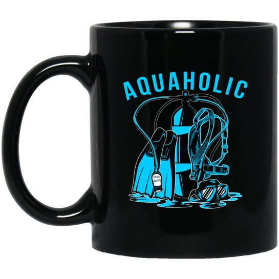 Aquaholic -  Black Mugs