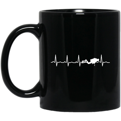 Scuba Is My Heartbeat Black Mug