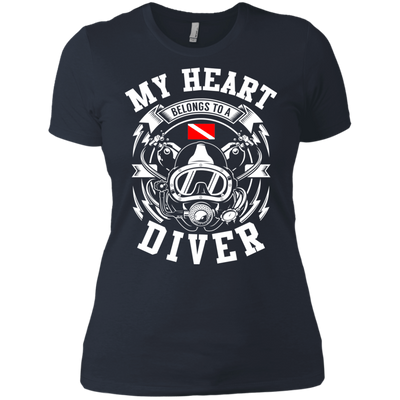 My Heart Belongs To A Diver Ladies Tees and V-Neck