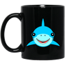 Happy Shark Black Mug
