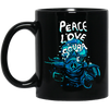 Peace Love Scuba Black Mug
