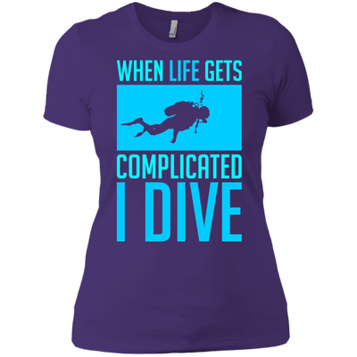 When Life Gets Complicated I Dive Women's Tees and V-Necks - scubadivingaddicts