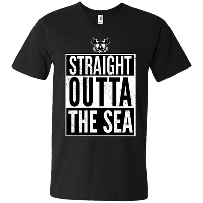 Straight Outta The Sea Black - Men's Tees and V-Neck