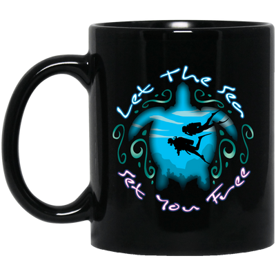 Let The Sea Set You Free Black Mug